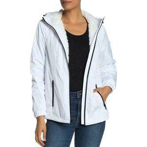 Michael Kors White Missy Shearling Lined Jacket Coat